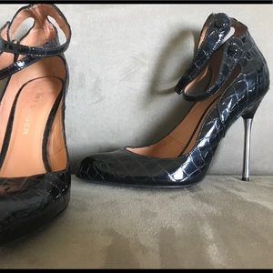Kurt Geiger London black patent leather croc pumps